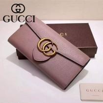 GUCCI 400568-02 專櫃時尚新款裸粉色全皮系列長夾