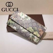 GUCCI 403022-05 專櫃時尚新款PVC配牛皮絲印系列配紅色內裡長夾