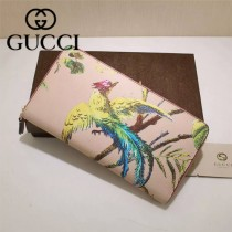 GUCCI 353227 專櫃時尚新款鳳凰系列PVC配牛皮拉鏈長夾
