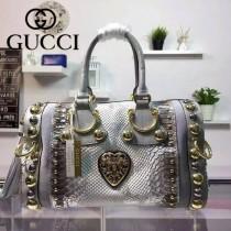 GUCCI 207296-2 歐美朋克風鉚釘裝飾銀白色牛皮配蟒蛇皮手提包波士頓包