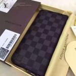 LV N63095-2 型男必備ZIPPY VERTICAL黑色棋盤格原版皮長款錢包