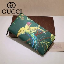 GUCCI 353227-02 專櫃時尚新款鳳凰系列PVC配牛皮拉鏈長夾