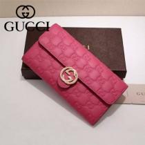 GUCCI 369663-01 專櫃時尚新款紅色全皮壓花系列長夾