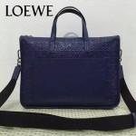 LOEWE 013-3 時尚商務男士寶藍色原版皮壓花手提單肩包公文包