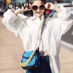 LOEWE 05-5 專櫃最新款Barcelona藍色原版小牛皮單肩斜挎包
