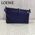 LOEWE 011-5 潮流新款女士Puzzle Pouch 寶藍色原版牛皮單肩斜挎包