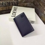 LOEWE 07-2 人氣熱銷新款寶藍色原版牛皮對折卡片夾