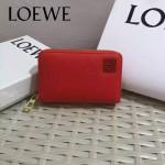 LOEWE 08-3 輕便小巧女士橘紅色原版牛皮短款拉鏈零錢包