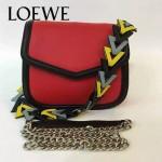 LOEWE 05 專櫃最新款Barcelona紅色原版小牛皮單肩斜挎包