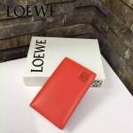 LOEWE 07-4 人氣熱銷新款橘紅色原版牛皮對折卡片夾