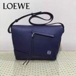 LOEWE 012-3 歐美百搭新款Anton寶藍色原版牛皮單肩斜挎包信使包