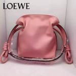 LOEWE 010 時尚經典款Flamenco粉色原版牛皮大小號束口單肩包