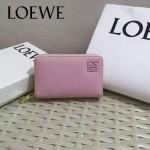 LOEWE 08 輕便小巧女士粉色原版牛皮短款拉鏈零錢包
