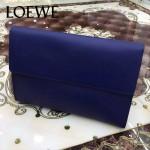 LOEWE 09 潮流實用單品寶藍色原版小牛皮休閒手包可放ipad5
