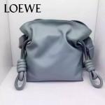 LOEWE 010-3 時尚經典款Flamenco灰藍色原版牛皮大小號束口單肩包