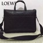 LOEWE 013-2 時尚商務男士黑色原版皮壓花手提單肩包公文包
