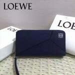 LOEWE 04-5 潮流女士新款puzzle寶藍色原版小牛皮長款拉鏈錢包