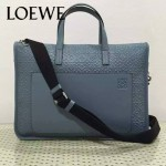LOEWE 013-4 時尚商務男士淺藍色原版皮壓花手提單肩包公文包