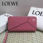 LOEWE 04-3 潮流女士新款puzzle粉色原版小牛皮長款拉鏈錢包