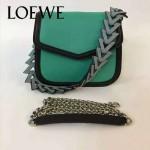 LOEWE 05-4 專櫃最新款Barcelona綠色原版小牛皮單肩斜挎包