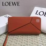 LOEWE 04-4 潮流女士新款puzzle橙色原版小牛皮長款拉鏈錢包