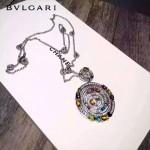 Bvlgari飾品-04-3 劉美人同款高碳鉆版本銀色大號彩寶時來運轉項鏈