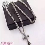Chrome Hearts飾品-01 歐美朋克風男女款純銀雙層十字架項鏈