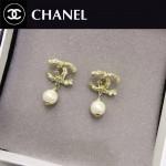 CHANEL飾品-020 人氣熱銷新款經典款雙C紋路鑲鑽珍珠耳釘