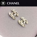 CHANEL飾品-011 歐美百搭個性經典款雙C鑲鑽拼黑鑽耳釘