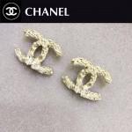 CHANEL飾品-018 個性新款女士經典款雙C紋路鑲鑽耳釘