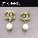 CHANEL飾品-027 時尚女士新款經典款雙C鑲鑽珍珠耳釘
