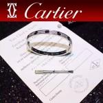 CARTIER飾品-05-3 官網同款銀色鈦鋼滿天星鑲鑽黑釘真空電鍍18k螺絲手鐲