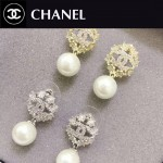 CHANEL飾品-05 名媛必備單品經典款雙C雪花鑲鑽珍珠耳釘