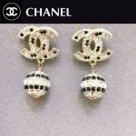 CHANEL飾品-030 時尚復古風經典款雙C黑白鉆耳釘