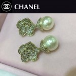 CHANEL飾品-02 時尚淑女風經典款珍珠山茶花鑲鑽耳環