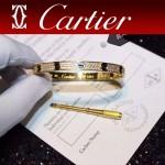CARTIER飾品-05 官網同款土豪金鈦鋼滿天星鑲鑽黑釘真空電鍍18k螺絲手鐲
