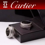 CARTIER飾品-02 時尚奢華18k滿天星鑲鑽可轉動托盤戒指
