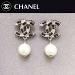 CHANEL飾品-031 人氣熱銷女士經典款雙C黑白鑲鑽珍珠耳釘