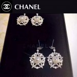 CHANEL飾品-042 歐美流行新款經典款珍珠星星鑲鑽耳釘
