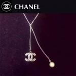 CHANEL飾品-035 冬日必備新款經典款雙C鑲鑽珍珠毛衣鏈