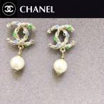 CHANEL飾品-033 時尚個性百搭經典款雙C彩鑽珍珠耳釘