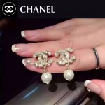 CHANEL飾品-038 潮流百搭新款經典款雙C鑲鑽珍珠耳釘