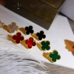 Van Cleef&Arpels飾品-04-3 潮流新款925純銀材質電鍍18k綠色四葉草耳釘