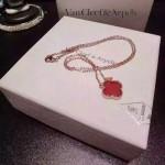 Van Cleef&Arpels飾品-02-2 時尚小清新女士925純銀K金紅色四葉草項鏈