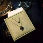 Van Cleef&Arpels飾品-01-3 潮流經典款女士925純銀電鍍18k黑色雙層四葉草項鏈