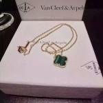 Van Cleef&Arpels飾品-02-3 時尚小清新女士925純銀K金綠色四葉草項鏈