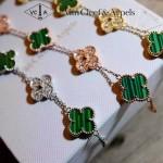 Van Cleef&Arpels飾品-03 潮流925純銀電鍍18k金綠色鑲鑽四葉草項鏈