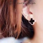 Van Cleef&Arpels飾品-04-4 潮流新款925純銀材質電鍍18k黑色四葉草耳釘