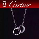 CARTIER飾品-09 時尚新款女士經典款925純銀雙環相交項鏈