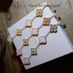 Van Cleef&Arpels飾品-03-2 潮流925純銀電鍍18k金裸粉鑲鑽四葉草項鏈